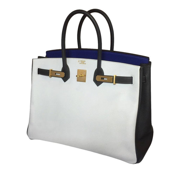 Hermes special order horseshoe birkin blue white graphite used open