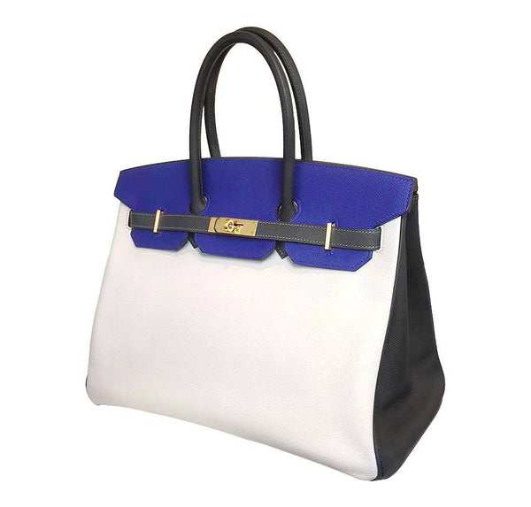 Hermes special order horseshoe birkin blue white graphite used side