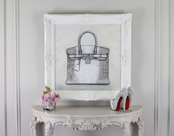 Original Himalayan Hermes Birkin Painting on Wall With Shoes