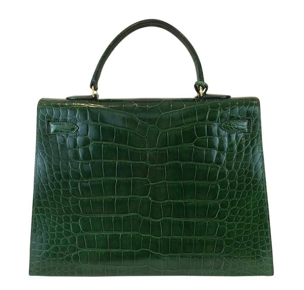 hermes kelly sellier 35 vert emerald used back