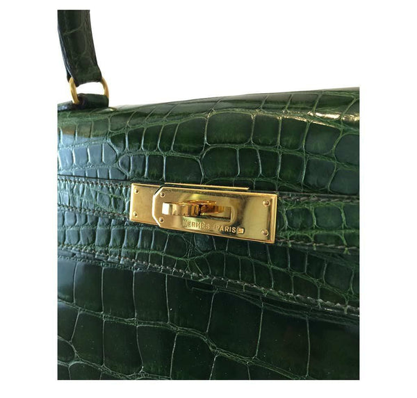 hermes kelly sellier 35 vert emerald used detail