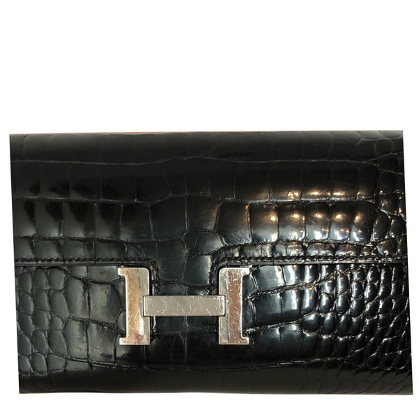 Hermes Constance Long Wallet Alligator Noir Clutch excellent clasp