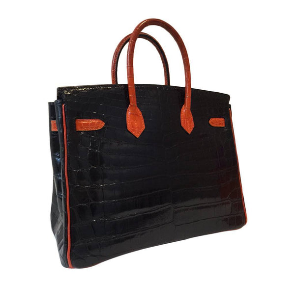 hermes birkin 25 red black crocodile special order used back