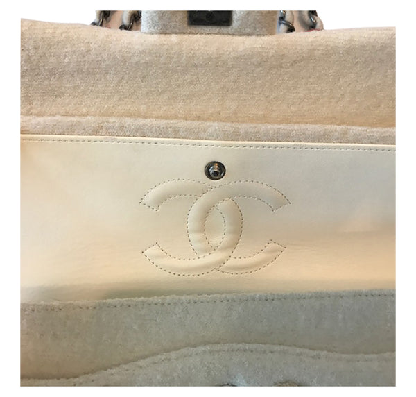 Chanel Runway Embroidered Felt Double Classic Flap Bag