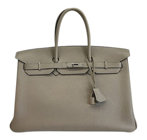 Hermes Birkin 35 Gris Tourterelle Leather PHW