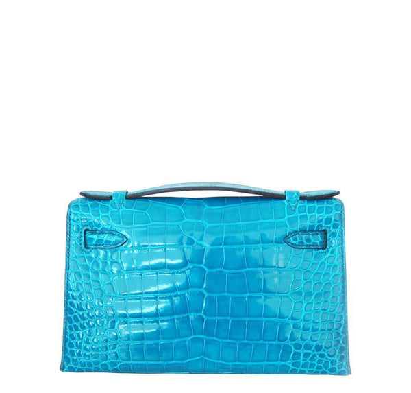New Hermes Alligator Kelly Pochette Back