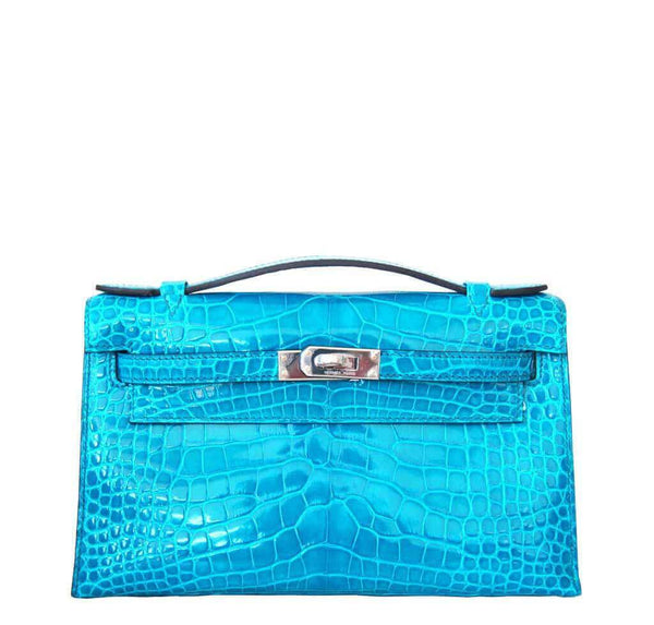 Hermes Alligator Kelly Pochette Bag Blue