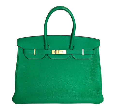 Hermes Birkin 35 Bamboo Green Togo gold hardware very good front