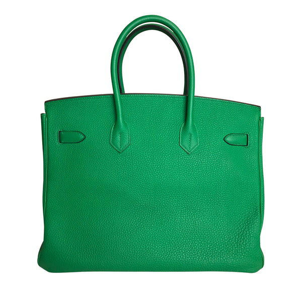 Hermes Birkin 35 Bamboo Green Togo gold hardware very good back