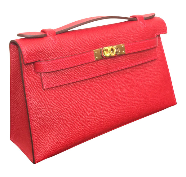 Hermès Kelly Pochette Mini Rouge Casaque Epsom GHW Bag pristine bag