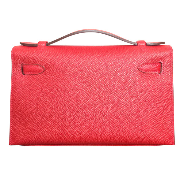 Hermès Kelly Pochette Mini Rouge Casaque Epsom GHW Bag pristine back