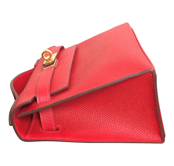Hermès Kelly Pochette Mini Rouge Casaque Epsom GHW Bag pristine side