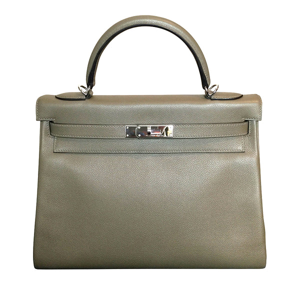 Hermes Kelly Retourne 32 Veau Evercolor Origan PHW Excellent Front