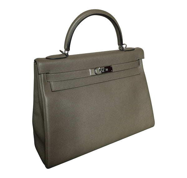 Hermes Kelly Retourne 32 Veau Evercolor Origan PHW Excellent Side