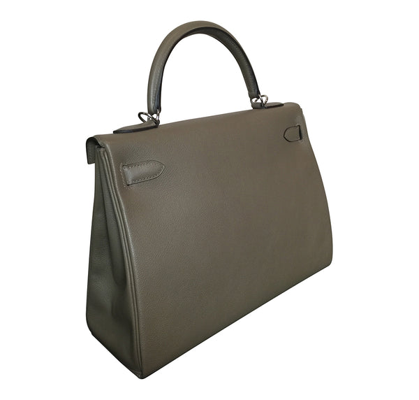 Hermes Kelly Retourne 32 Veau Evercolor Origan PHW Excellent Back