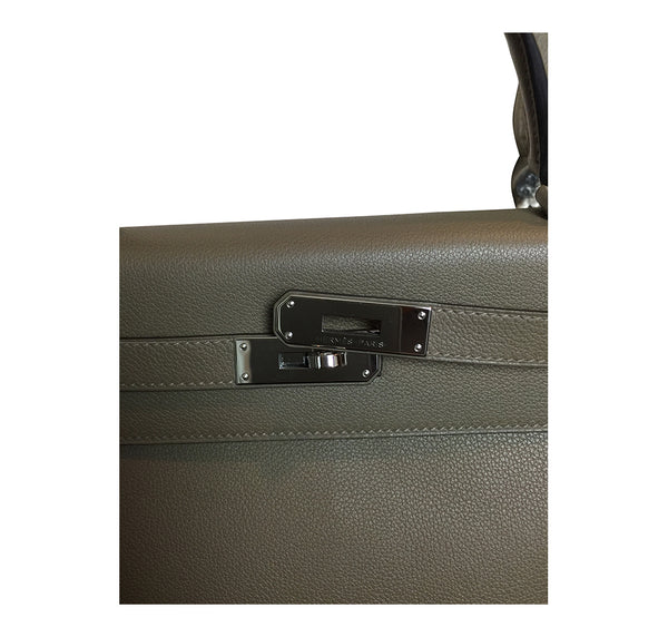 Hermes Kelly Retourne 32 Veau Evercolor Origan PHW Excellent Clasp