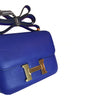 Hermes Constance Mini 18 Bleu Electrique Swift gold hardware excellent side angle