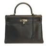 Hermes Kelly 35 Ebene Evergrain Calfskin very good palladium front