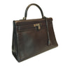 Hermes Kelly 35 Ebene Evergrain Calfskin very good palladium side