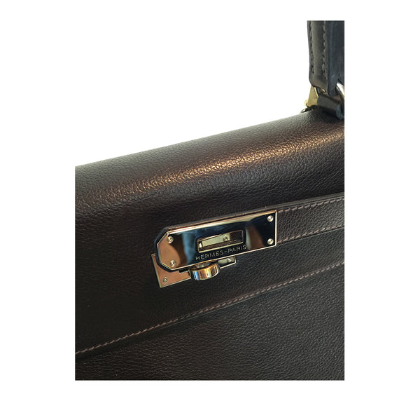 Hermes Kelly 35 Ebene Evergrain Calfskin very good palladium clasp