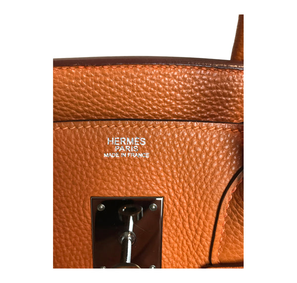 Hermès Birkin 30 Potiron Orange Togo palladium good stamp
