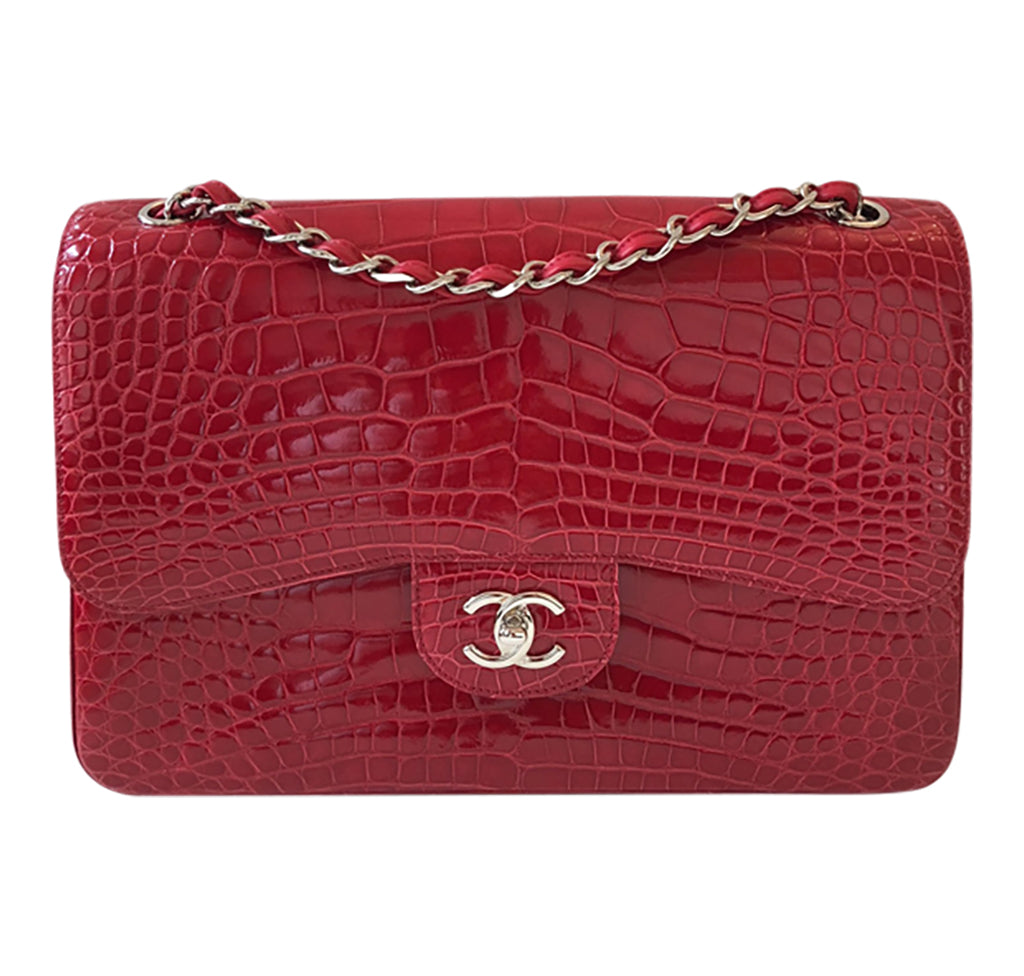 9f1efd76a55 Chanel Red Jumbo Flap 2.55 Shiny Alligator Bag Excellent Front ...