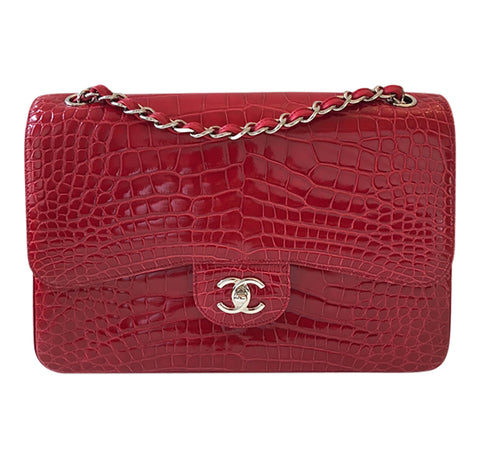 Chanel Red Jumbo Flap 2.55 Shiny Alligator Bag Excellent Front