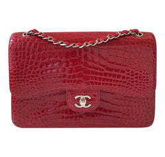 ef72b403a923 Chanel Red Jumbo Flap 2.55 Shiny Alligator Bag Excellent Front