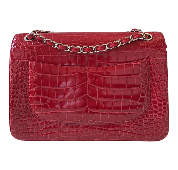 Chanel Red Jumbo Flap 2.55 Shiny Alligator Bag Excellent Back