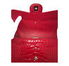 Chanel Red Jumbo Flap 2.55 Shiny Alligator Bag Excellent Interior