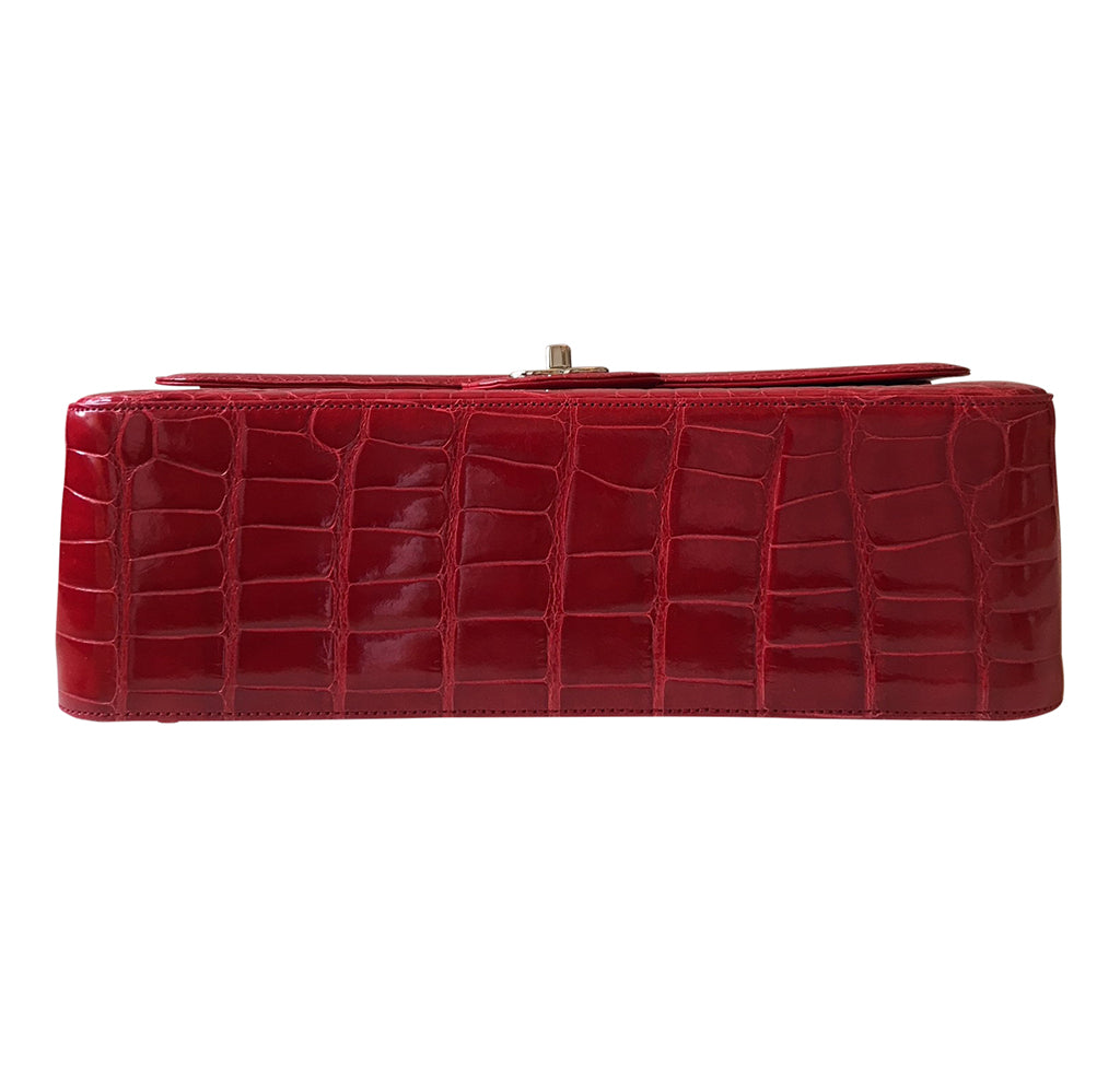 357393d66292 ... Interior Chanel Red Jumbo Flap 2.55 Shiny Alligator Bag Excellent  Bottom ...