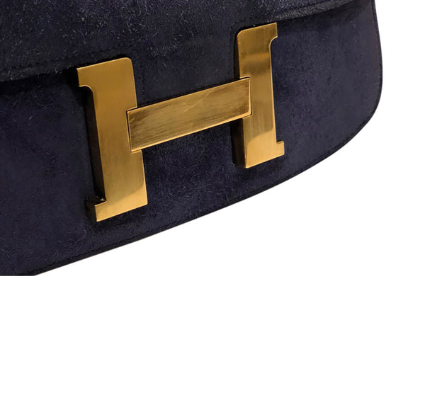 Hermes Constance 24 Vintage Navy Suede gold very good clasp