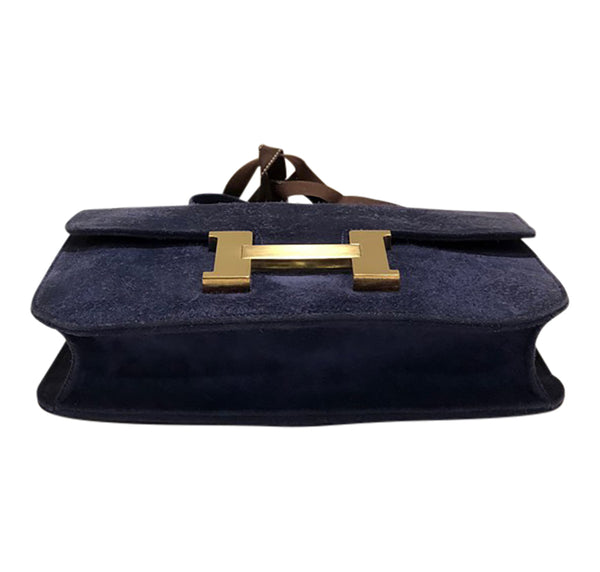 Hermes Constance 24 Vintage Navy Suede gold very good bottom