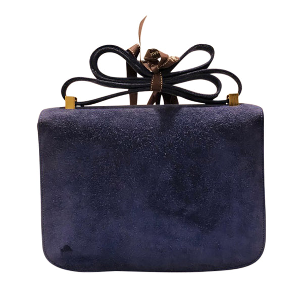 Hermes Constance 24 Vintage Navy Suede gold very good back