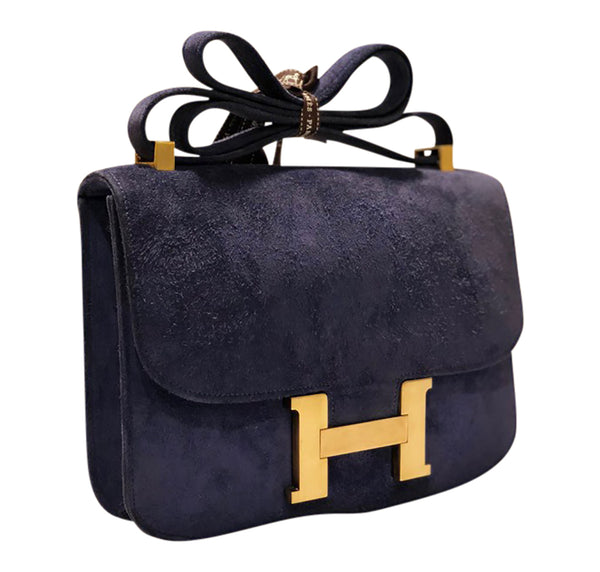 Hermes Constance 24 Vintage Navy Suede gold very good front side