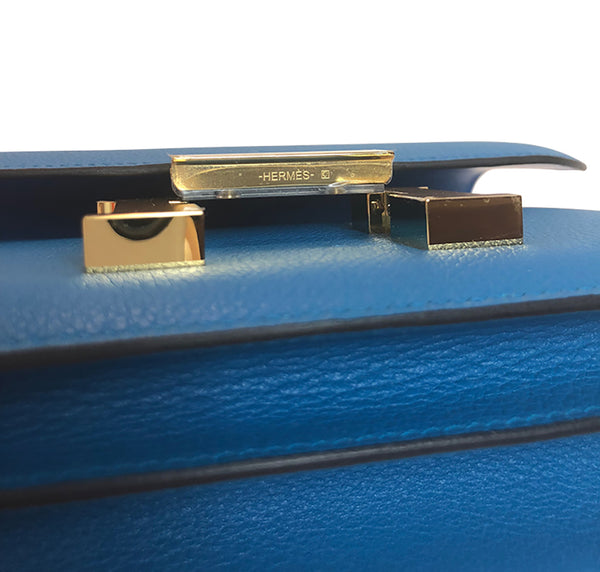 Hermes Constance Mini Blue Zanzibar Epsom Gold pristine bottom