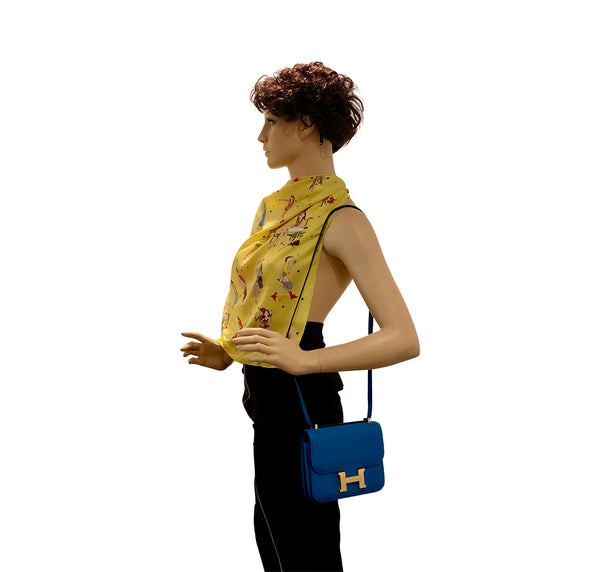 Hermes Constance Mini Blue Zanzibar Epsom Gold pristine shoulder strap length