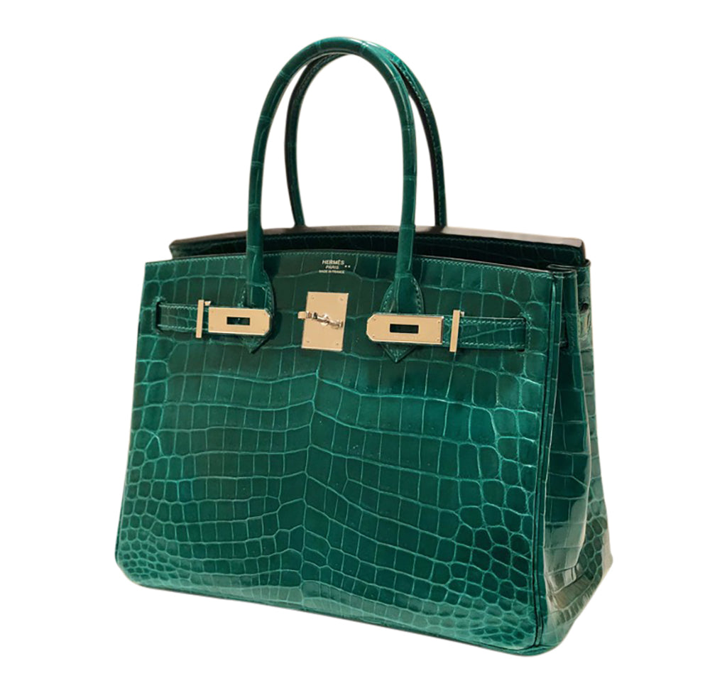 22f9c24a1bfe ... Hermes Birkin 30 Emeraude green Niloticus Crocodile Gold excellent  front open right ...