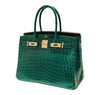 Hermes Birkin 30 Emeraude green Niloticus Crocodile Gold excellent front open right