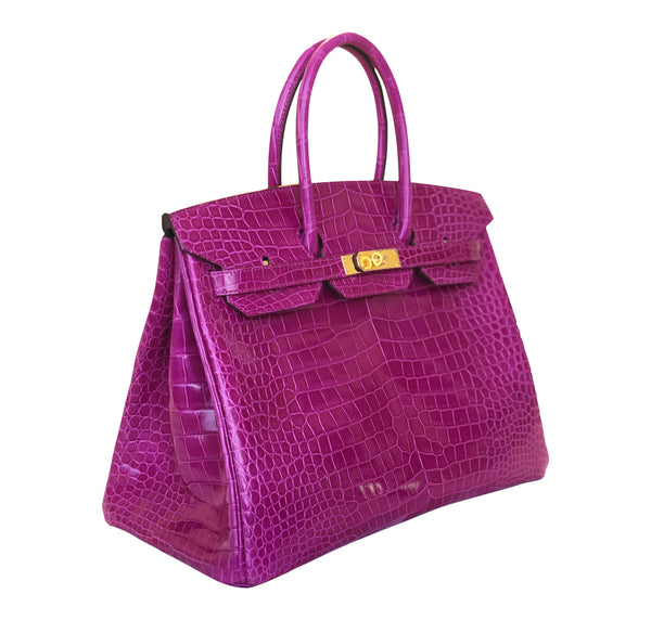 Hermès Birkin 35 Rose Sheherazade Crocodile gold pristine side left