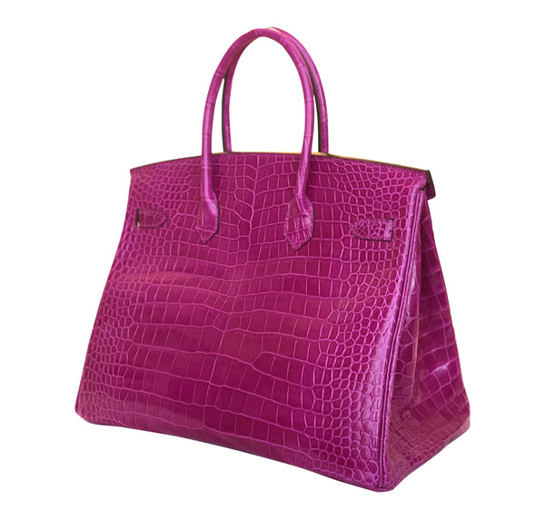 Hermès Birkin 35 Rose Sheherazade Crocodile gold pristine side right