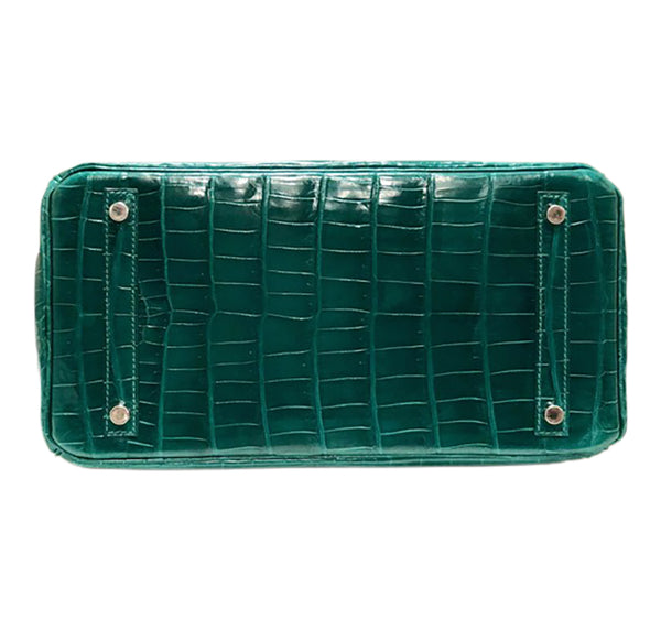 Hermes Birkin 30 Emeraude green Niloticus Crocodile Gold excellent bottom