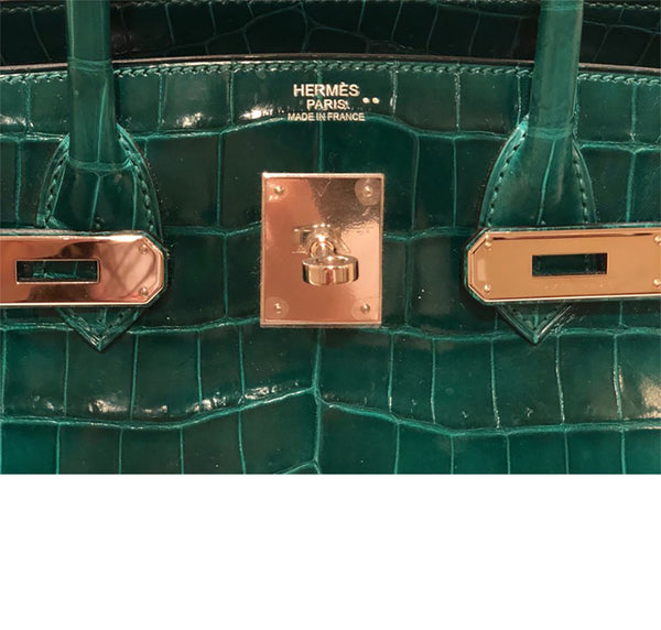 Hermes Birkin 30 Emeraude green Niloticus Crocodile Gold excellent embossing