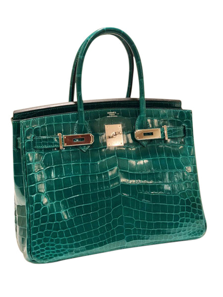 Hermes Birkin 30 Emeraude green Niloticus Crocodile Gold excellent front open left