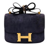 Hermes Constance 24 Vintage Navy Suede gold very good front