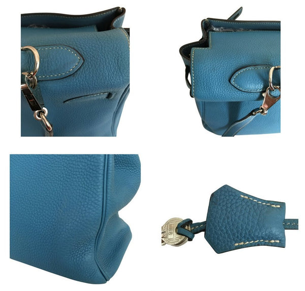Hermes Kelly 35 Blue Jean Used detail
