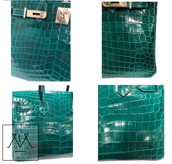Hermes Birkin 30 Emeraude green Niloticus Crocodile Gold excellent 4 corners