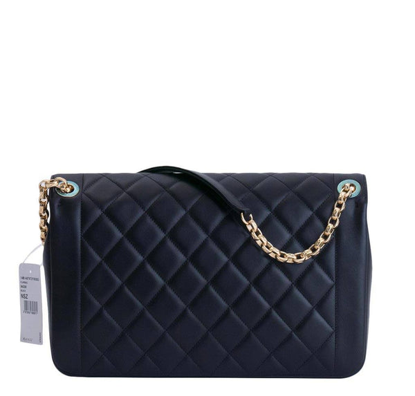 chanel flap bag black used back
