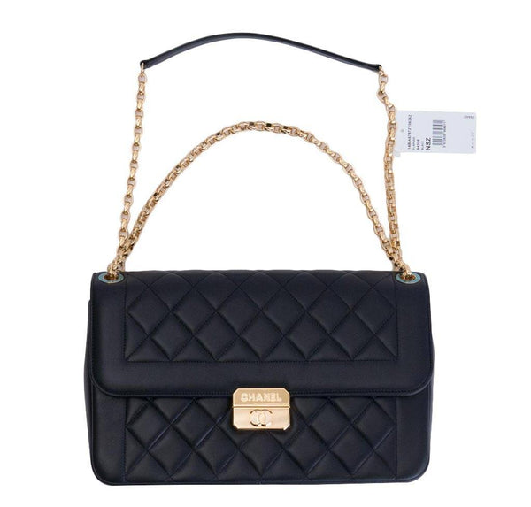 chanel flap bag black used overview
