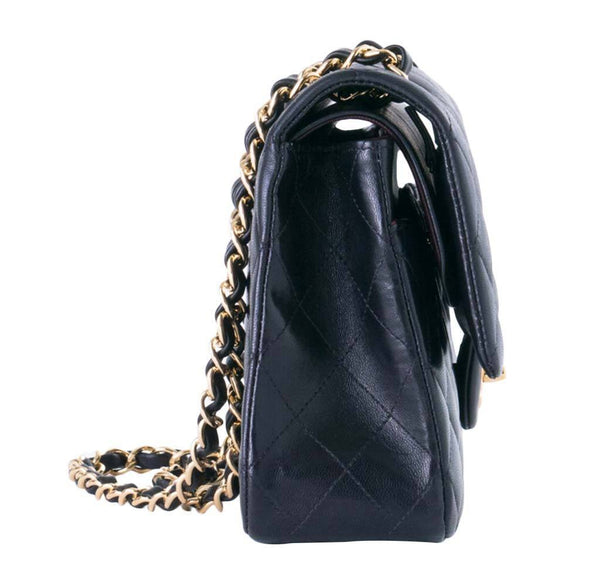 chanel boy flap bag black used side